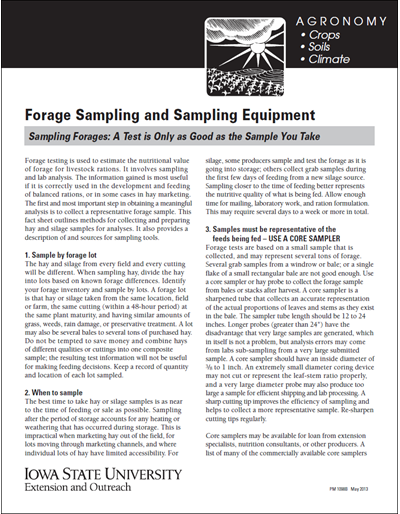 Forage Sampling and Sampling Equipment