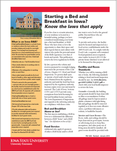 Starting a Bed and Breakfast in Iowa? -- Know the laws that apply