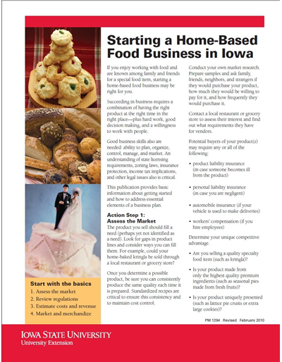 Starting a Home-Based Food Business in Iowa