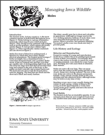 Moles -- Managing Iowa Wildlife