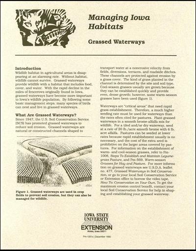 Grassed Waterways - Managing Iowa Habitats