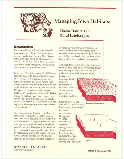 Linear Habitats in Rural Landscapes - Managing Iowa Habitats