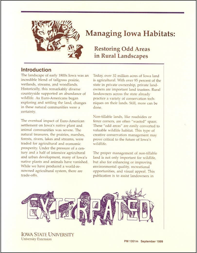 Restoring Odd Areas in Rural Landscapes - Managing Iowa Habitats