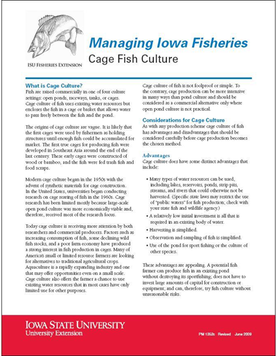 Cage Fish Culture -- Managing Iowa Fisheries