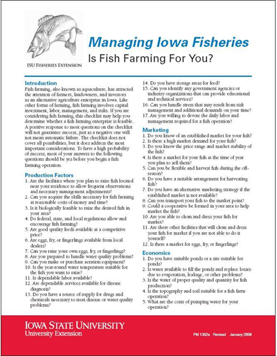Is Fish Farming for You? -- Managing Iowa Fisheries