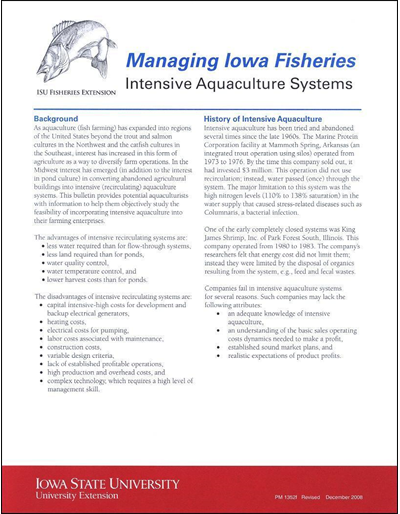 Intensive Aquaculture Systems -- Managing Iowa Fisheries