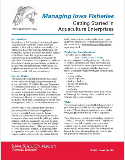 Getting Started in Aquaculture Enterprises -- Managing Iowa Fisheries