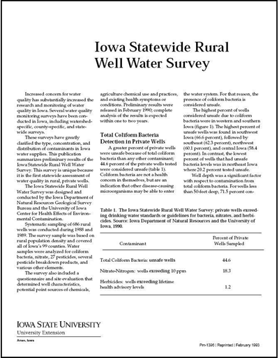 Iowa Statewide Rural Well Water Survey