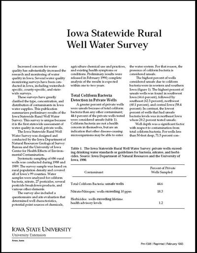 Iowa Statewide Rural Well Water Survey