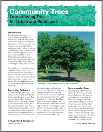 Low-Growing Trees for Urban and Rural Iowa -- Community Trees