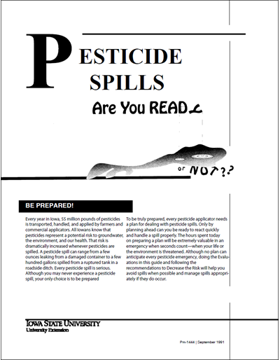 Pesticide Spills:  Are You Ready, or Not
