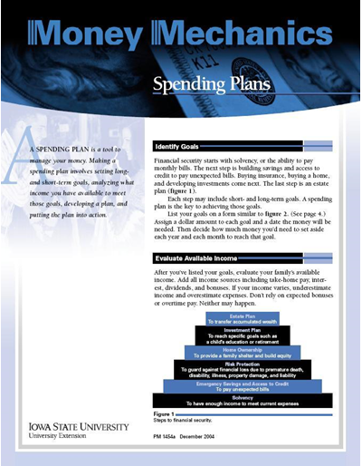 Spending Plans and Worksheet -- Money Mechanics
