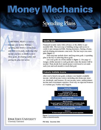 Spending Plans and Worksheet -- Money Mechanics