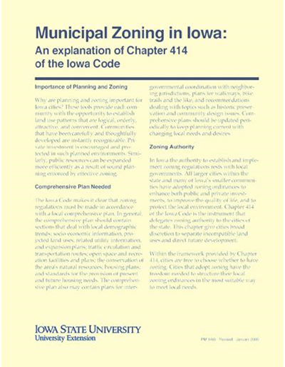 An Explanation of Chapter 414 of the Iowa Code - Municipal Zoning in Iowa