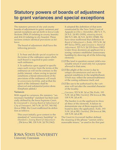 Statutory Powers of Boards of Adjustment to Grant Variances and Special Exceptions