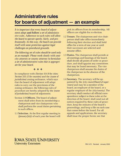 Administrative Rules for Boards of Adjustment - An Example