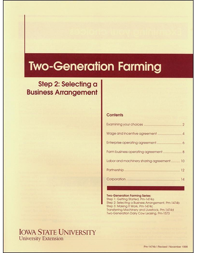 Step 2: Selecting a Business Arrangement - Two-Generation Farming Series