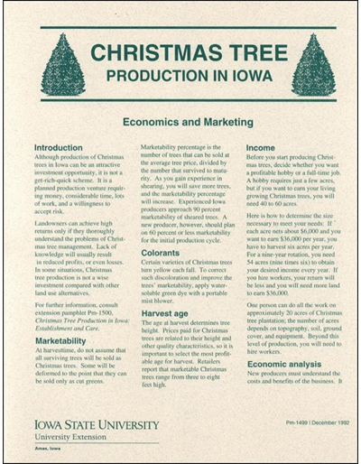 Christmas Tree Production in Iowa - Economics and Marketing