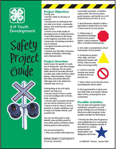 Safety Project Guide -- 4-H Youth Development