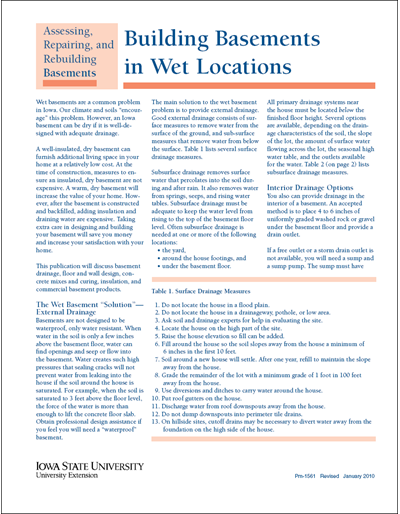 Building Basements in Wet Locations - Assessing, Repairing, and Rebuilding Basements