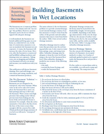 Building Basements in Wet Locations - Assessing, Repairing, and Rebuilding Basements