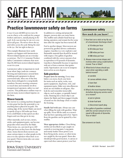 Practice lawnmower safety on farms -- Safe Farm