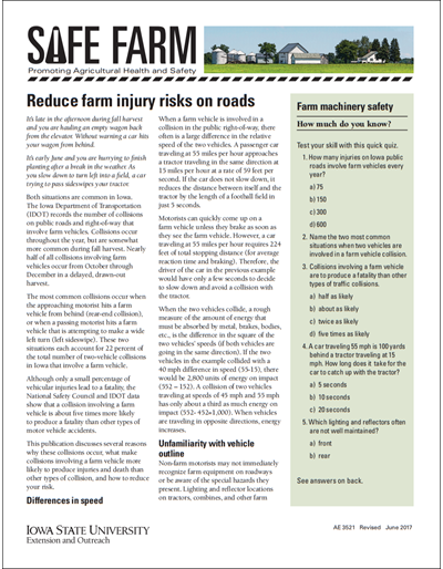 Reduce farm injury risks on roads -- Safe Farm