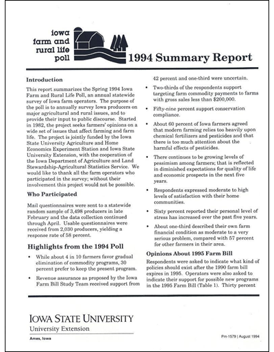 Iowa Farm and Rural Life Poll - 1994 Summary Report
