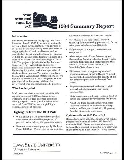 Iowa Farm and Rural Life Poll - 1994 Summary Report