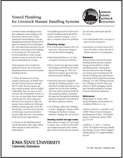 Vented Plumbing for Livestock Manure Handling Systems - Livestock Industry Facilities and Environment