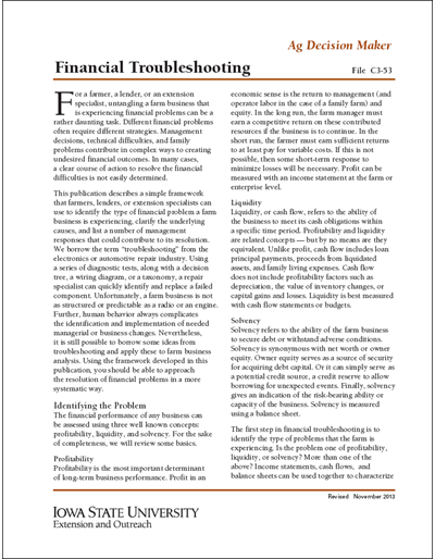 Financial Troubleshooting