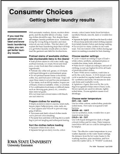 Getting Better Laundry Results -- Consumer Choices