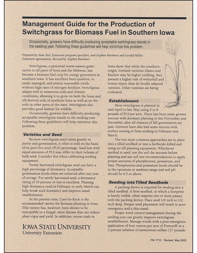 Management Guide for the Production of Switchgrass for Biomass Fuel in Southern Iowa