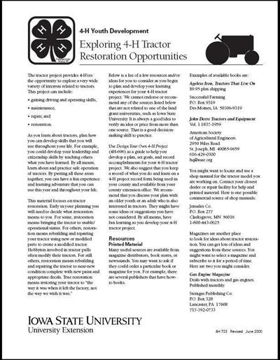 Exploring 4-H Tractor Restoration Opportunities