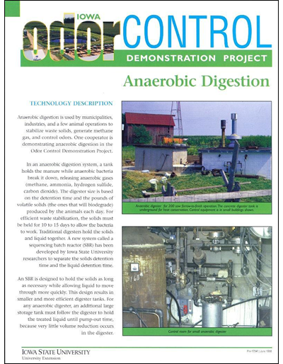 Anaerobic Digestion - Iowa Odor Control Demonstration Project