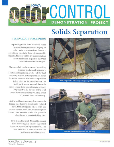 Solids Separation - Iowa Odor Control Demonstration Project