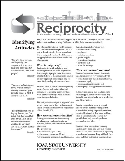 Reciprocity No. 1 - Identifying Attitudes
