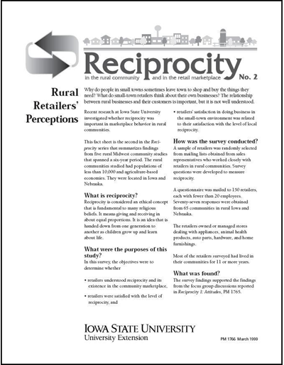 Reciprocity No. 2 - Rural Retailers' Perceptions