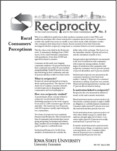 Reciprocity No. 3 - Rural Consumers' Perceptions