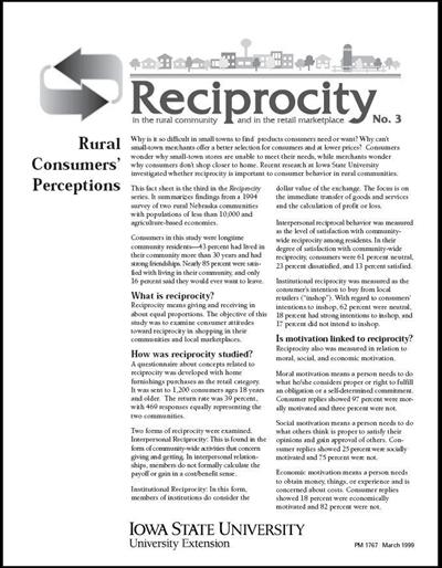 Reciprocity No. 3 - Rural Consumers' Perceptions
