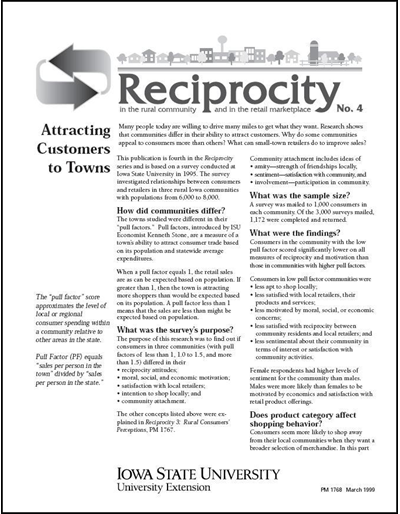 Reciprocity No. 4 - Attracting Customers to Towns