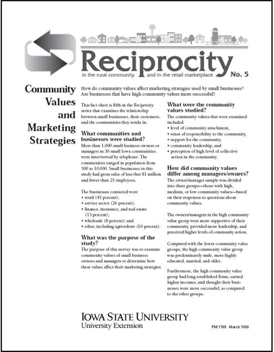 Reciprocity No. 5 - Community Values and Marketing Strategies
