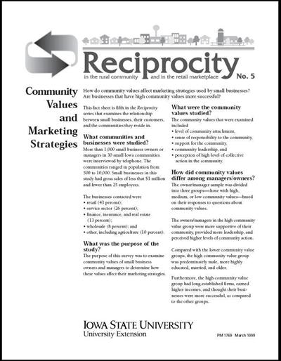Reciprocity No. 5 - Community Values and Marketing Strategies
