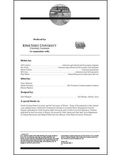 Confinement Site Manure Applicator Study Guide -- Chapter 1: Table of Contents & Introduction