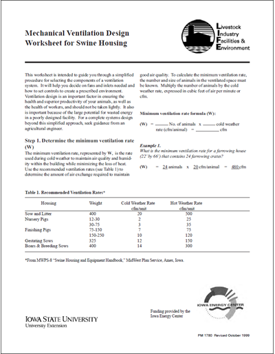 Mechanical Ventilation Design Worksheet for Swine Housing