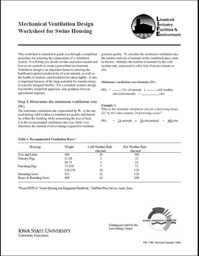 Mechanical Ventilation Design Worksheet for Swine Housing