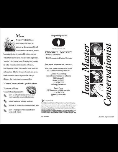 Iowa Master Conservationist brochure