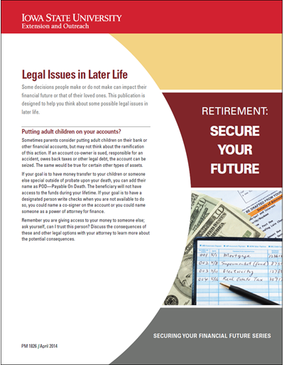Legal Issues in Later Life -- Retirement: Secure Your Future