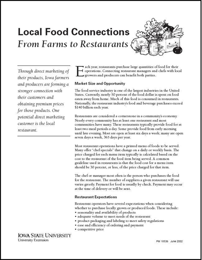 Local Food Connections -- From Farms to Restaurants