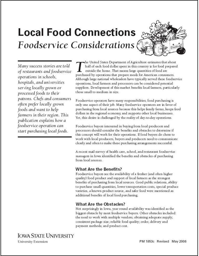 Local Food Connections -- Foodservice Considerations